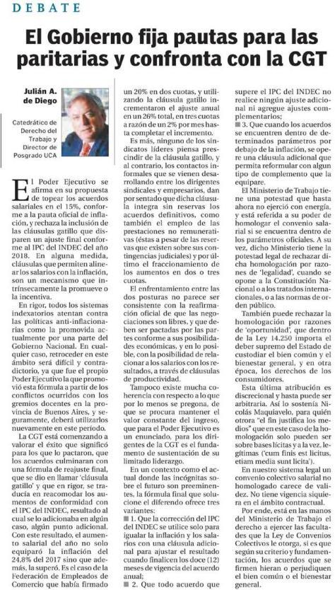 El Cronista 17.01.2018 Profesor Derecho del Trabajo y Escuela de Negocios J de Diego