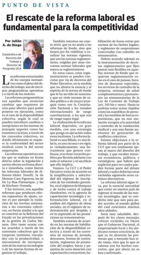 El Cronista 30.01.2018 Profesor Derecho del Trabajo y Escuela de Negocios J de Diego.jpg